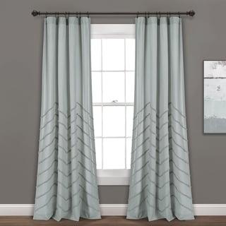 Lush Decor Chenille Chevron Window Curtain Panel Pair (Pastel Blue - 84L x 40W)