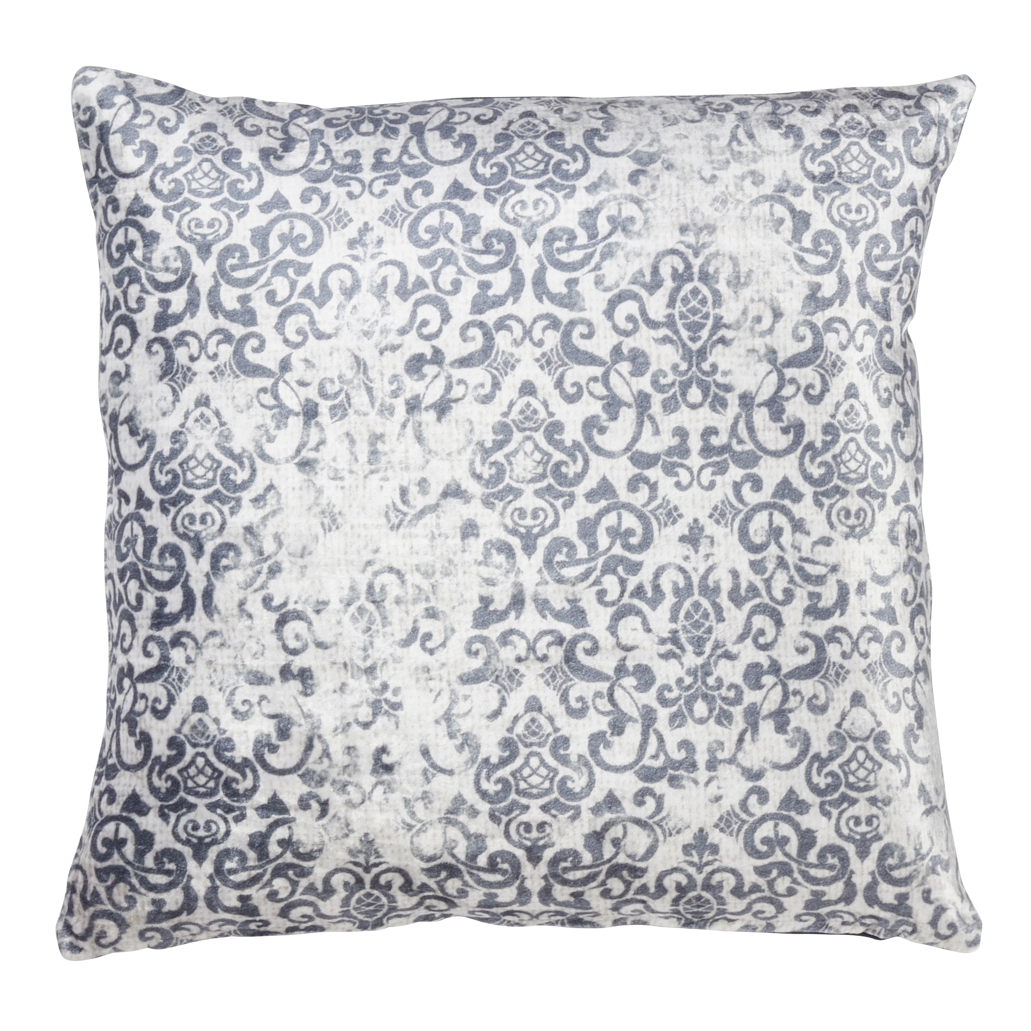Saro Lifestyle Small Distressed Motif Design Indigo Cotton/Viscose Down-filled Throw Pillow