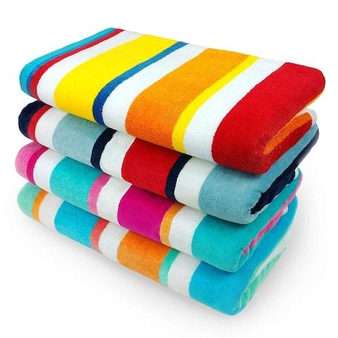 KAUFMAN - 100% Cotton Multicolor Joey Cabana Stripe Beach & Pool Towel 4-Pack - 32in x 62in