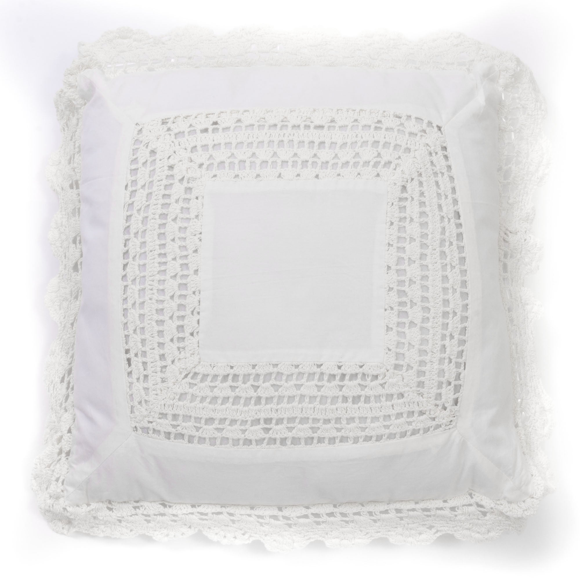 Cottage Home White Crochet 20 inch Throw Pillow (White - 20x20)