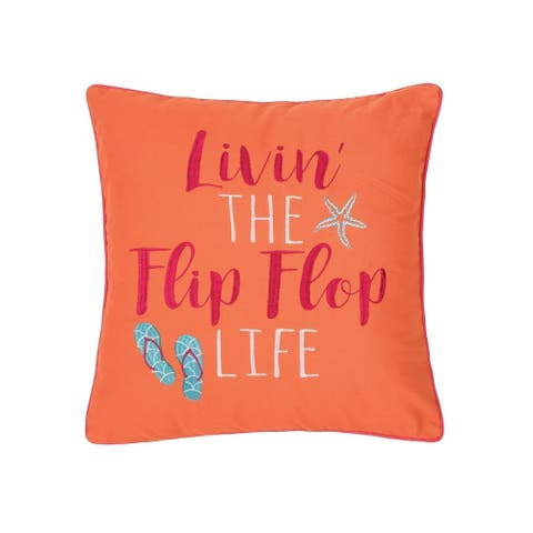 Flip Flop Life 18 x 18 Decorative Accent Throw Pillow
