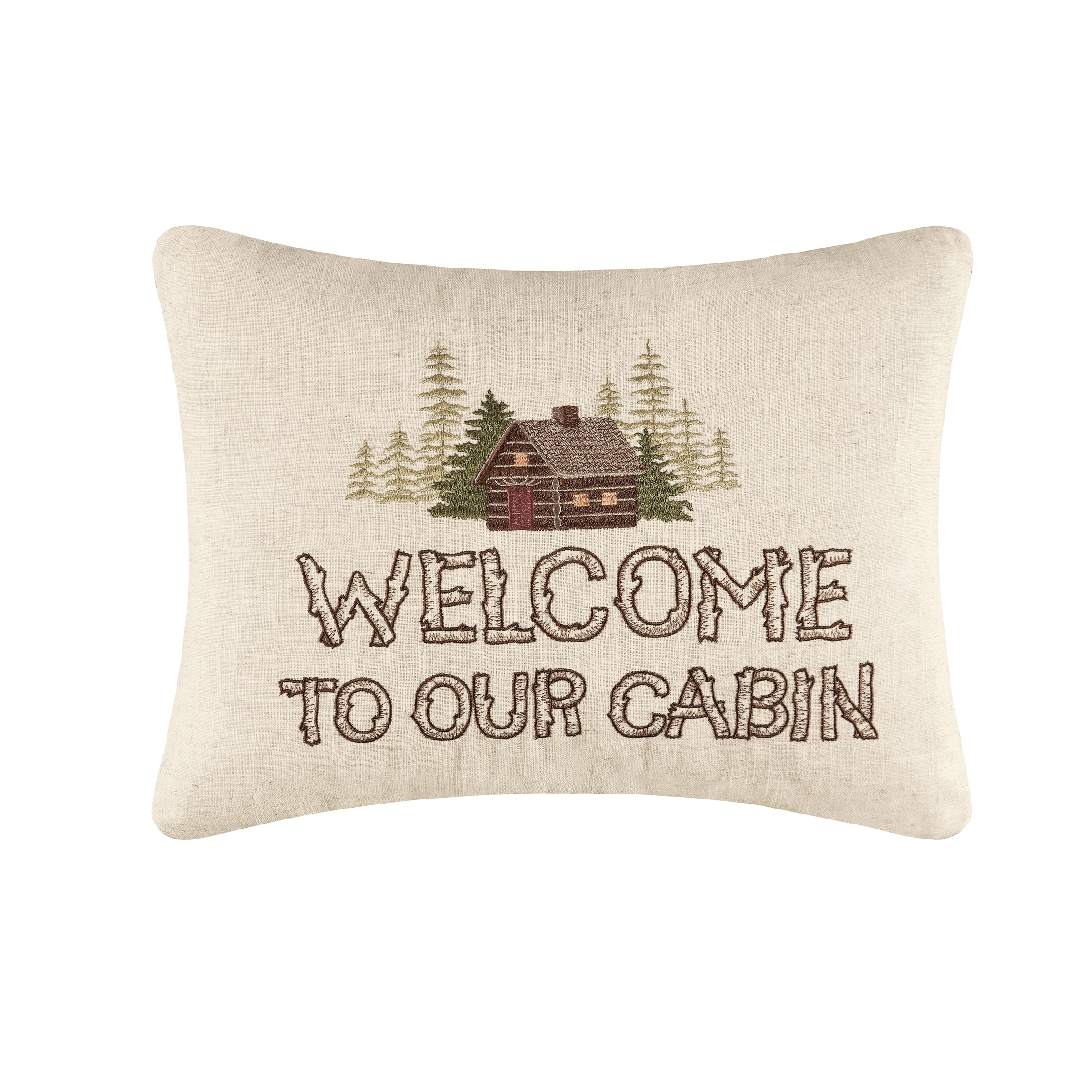 Our Cabin Embroidered 14 x 18 Pillow