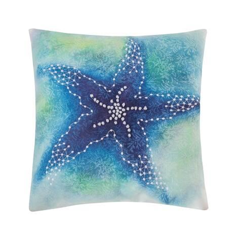 Aqua Starfish 18 x 18 Decorative Accent Throw Pillow
