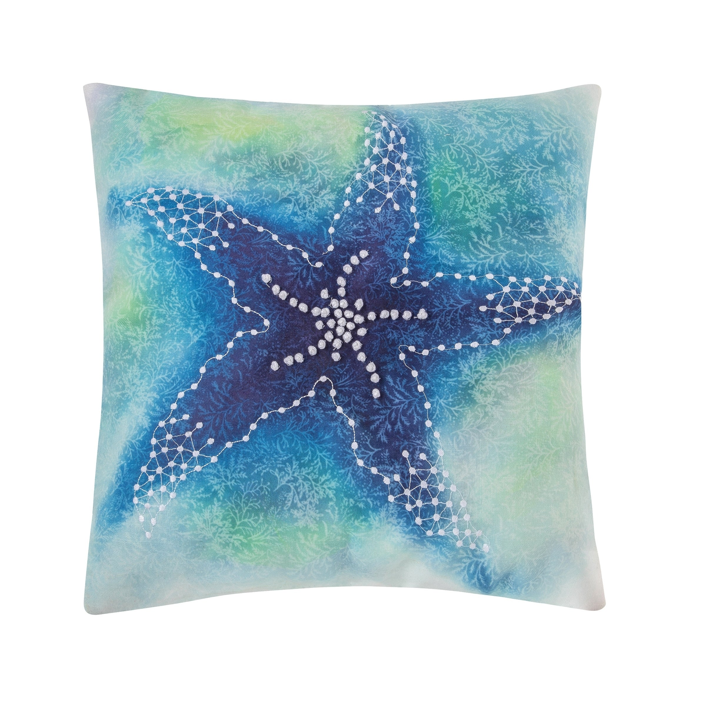 Aqua Starfish 18 x 18 Pillow