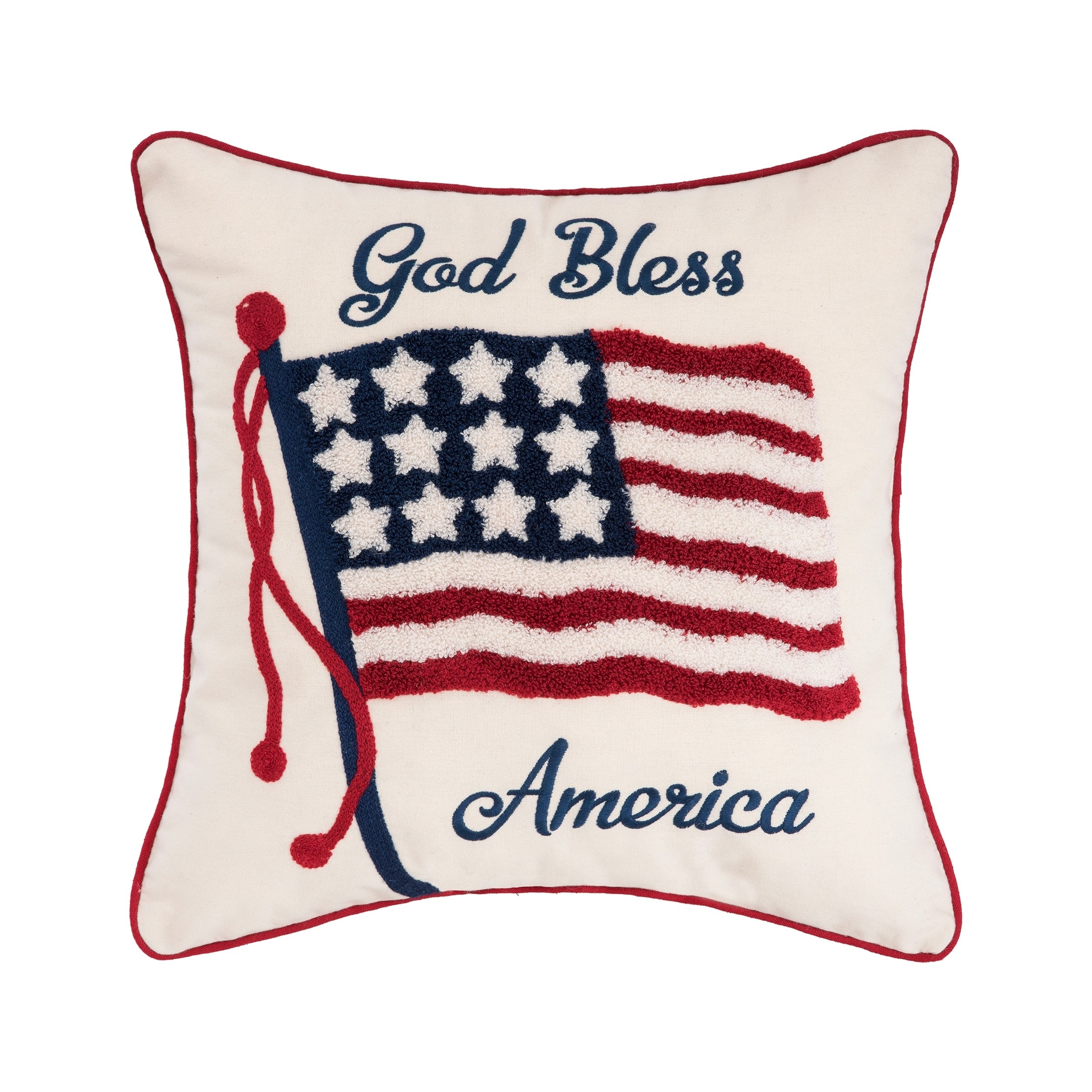 Patriotic Embroidered Pillow (Double Flag)