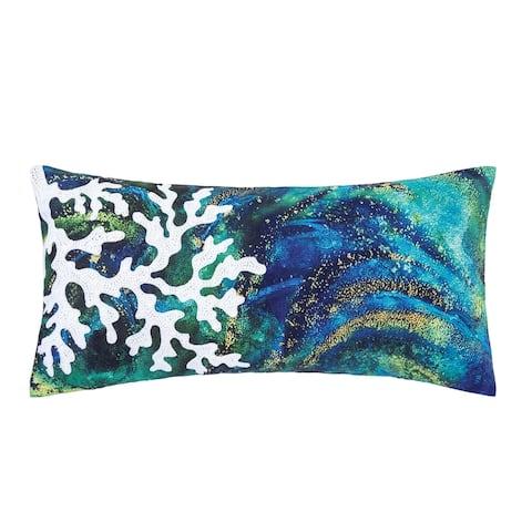 Aqua Coral 12 x 24 Decorative Accent Throw Pillow