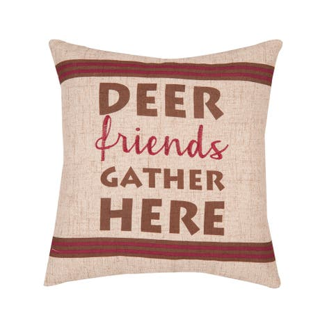 Gather Here Printed/Embroidered 16x16 Decorative Accent Throw Pillow