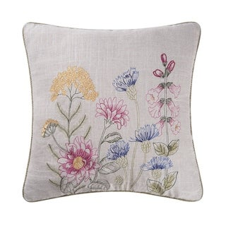 Floral Garden Embroidered 18 x 18 Pillow