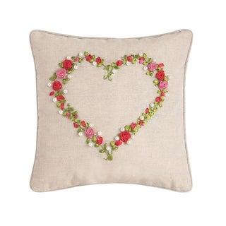 Rose Heart Ribbon Art 12 x 12 Pillow
