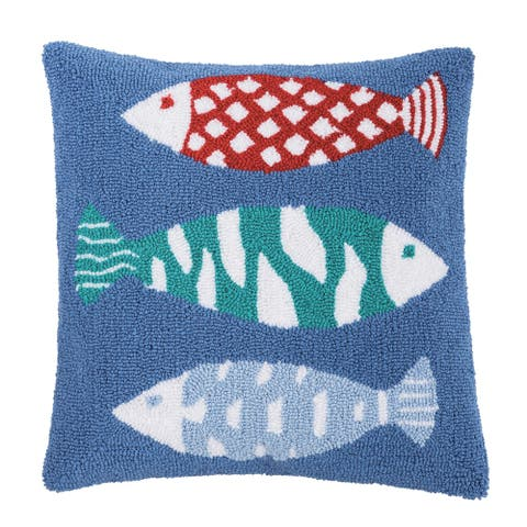 Harpswell Fish 18 x 18 Decorative Accent Throw Pillow