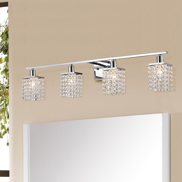 Frindin Chrome 4-light Wall Sconce Vanity Lighting with Crystal Shades. Opens flyout.