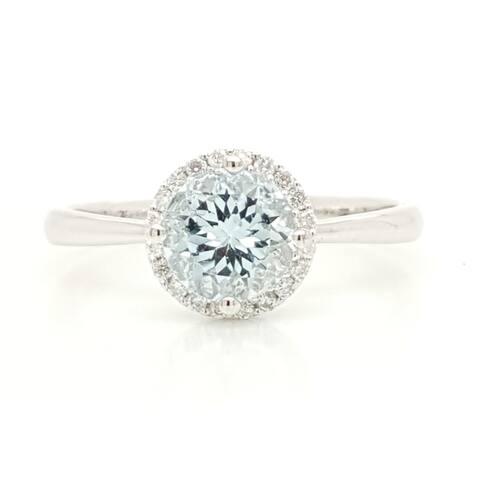 Round Aquamarine with Halo Set Round Diamonds Ring