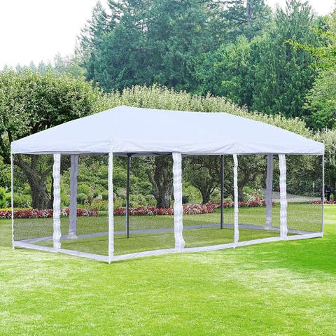 Outsunny Easy Pop Up 20-foot Party Tent with Removable Mesh Sidewalls