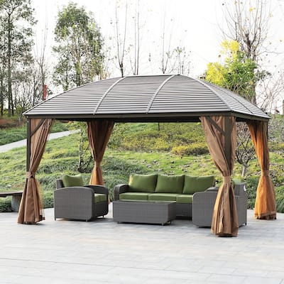Kurth Steel Hardtop Gazebo with Screened Curtains by Havenside Home