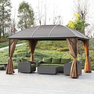 Link to Kurth Steel Hardtop Gazebo with Screened Curtains by Havenside Home Similar Items in Gazebos & Pergolas