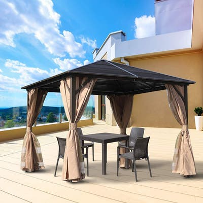 Outsunny 10' x 10' Steel Hardtop Gazebo with Mosquito Netting and Curtains