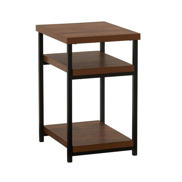 Household Essentials Hickory Side Table, 23.6H x 17.5W x 17.9D