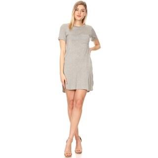 Women's Solid Basic Casual Cuffed Short Sleeve Side Slit Pockets Midi Dress
