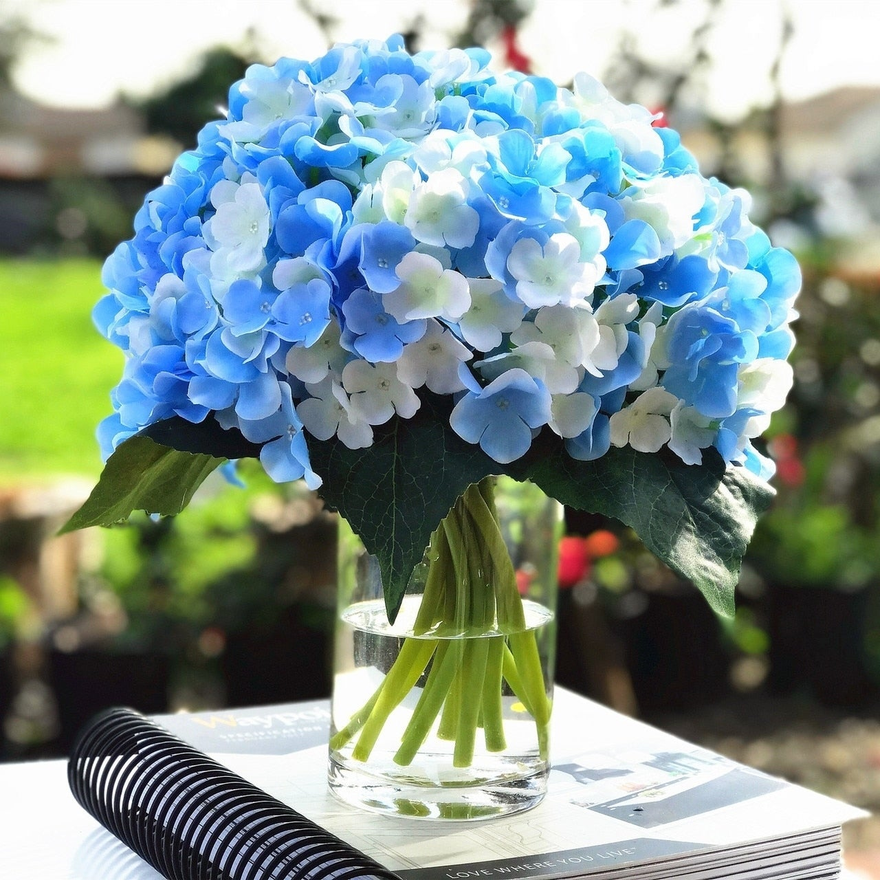 Shop Enova Home Blue Cream Artificial Hydrangea Flower