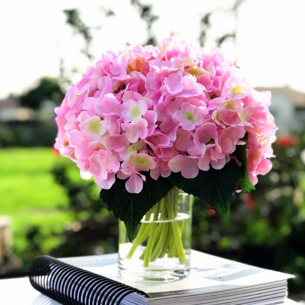 Shop Enova Home Pink Artificial Hydrangea Flower Arrangements With
