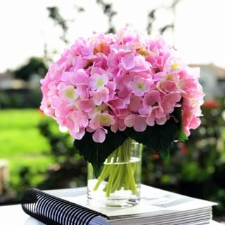 Enova Home Pink Artificial Hydrangea Flower Arrangements with Clear Glass Vase