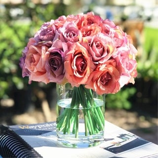 Enova Home  Artificial Open Rose Flower Arrangements with Glass Vase