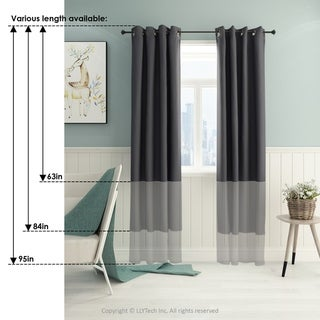 Furinno Collins Blackout Curtain 52x95 in. 2 Panels (Blue)