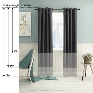 Furinno Collins Blackout Curtain 52x63 in. 2 Panels (White)