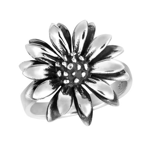Handmade Perennial Beauty Sunflower Sterling Silver Floral Ring (Thailand)
