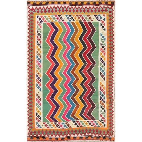 "Kilim Shiraz Geometric Hand-Woven Wool Persian Oriental Area Rug - 7'2"" x 4'2"""