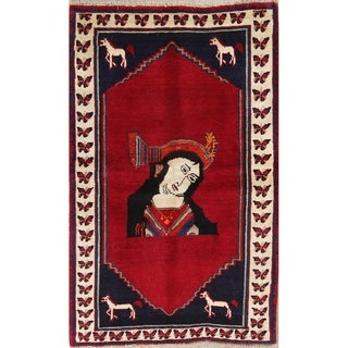 """Shiraz Women Pictorial Tribal Hand-Knotted Persian Area Rug - 6'1"""" x 3'8"""""""