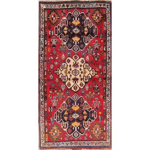 "Kashkoli Tribal Geometric Hand-Knotted Wool Persian Oriental Rug - 5'5"" x 2'9"" Runner"