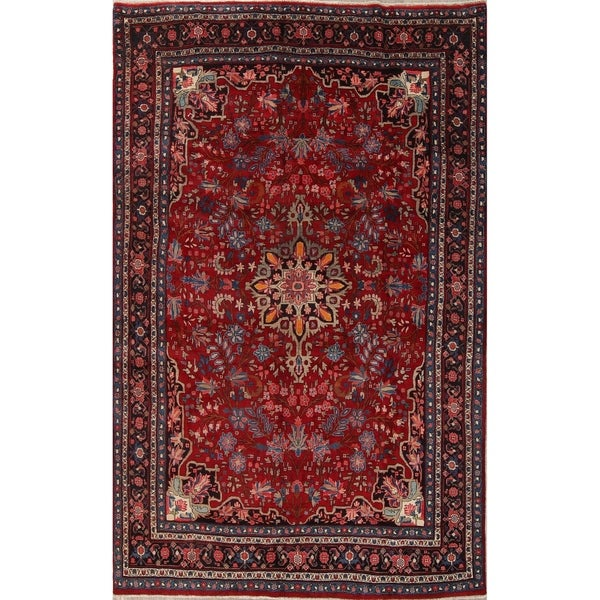 "Bidjar Floral Hand-Knotted Wool Persian Oriental Area Rug - 10'6"" x 6'7"""