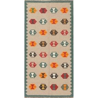 "Kilim Shiraz Geometric Hand-Woven Wool Persian Oriental Rug - 6'4"" x 3'3"" Runner"
