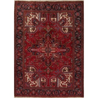 "Heriz Geometric Hand-Knotted Wool Persian Oriental Area Rug - 9'1"" x 6'6"""