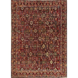 "Antique Kashkoli All-Over Geometric Hand-Knotted Wool Persian Area Rug - 9'8"" x 6'10"""