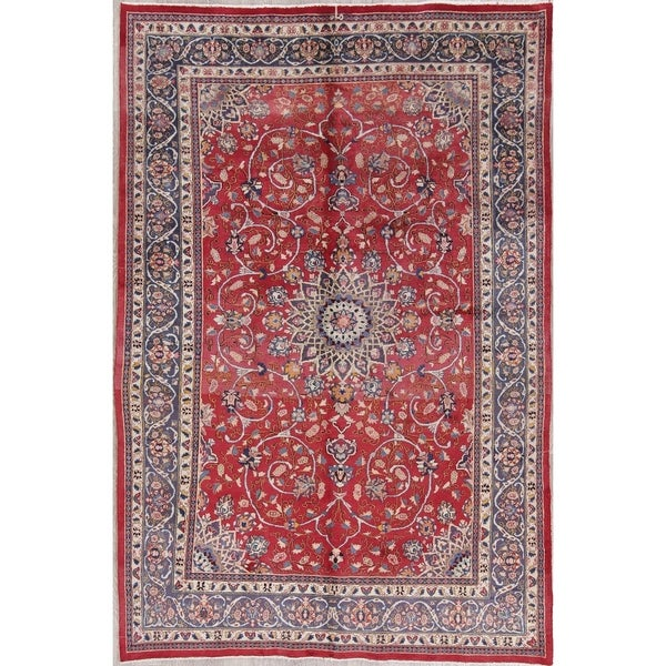 """Shahbaft Floral Hand-Knotted Wool Persian Oriental Area Rug - 9'9"""" x 6'11"""""""