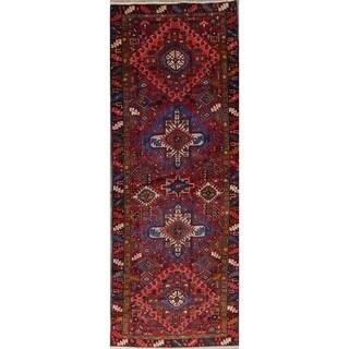"Gharajeh Tribal Geometric Hand-Knotted Wool Persian Oriental Rug - 11'0"" x 4'2"" Runner"