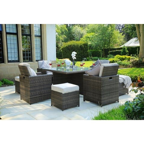 Direct Wicker 9 PCS Patio Wicker Furniture Dining Set with Cushions