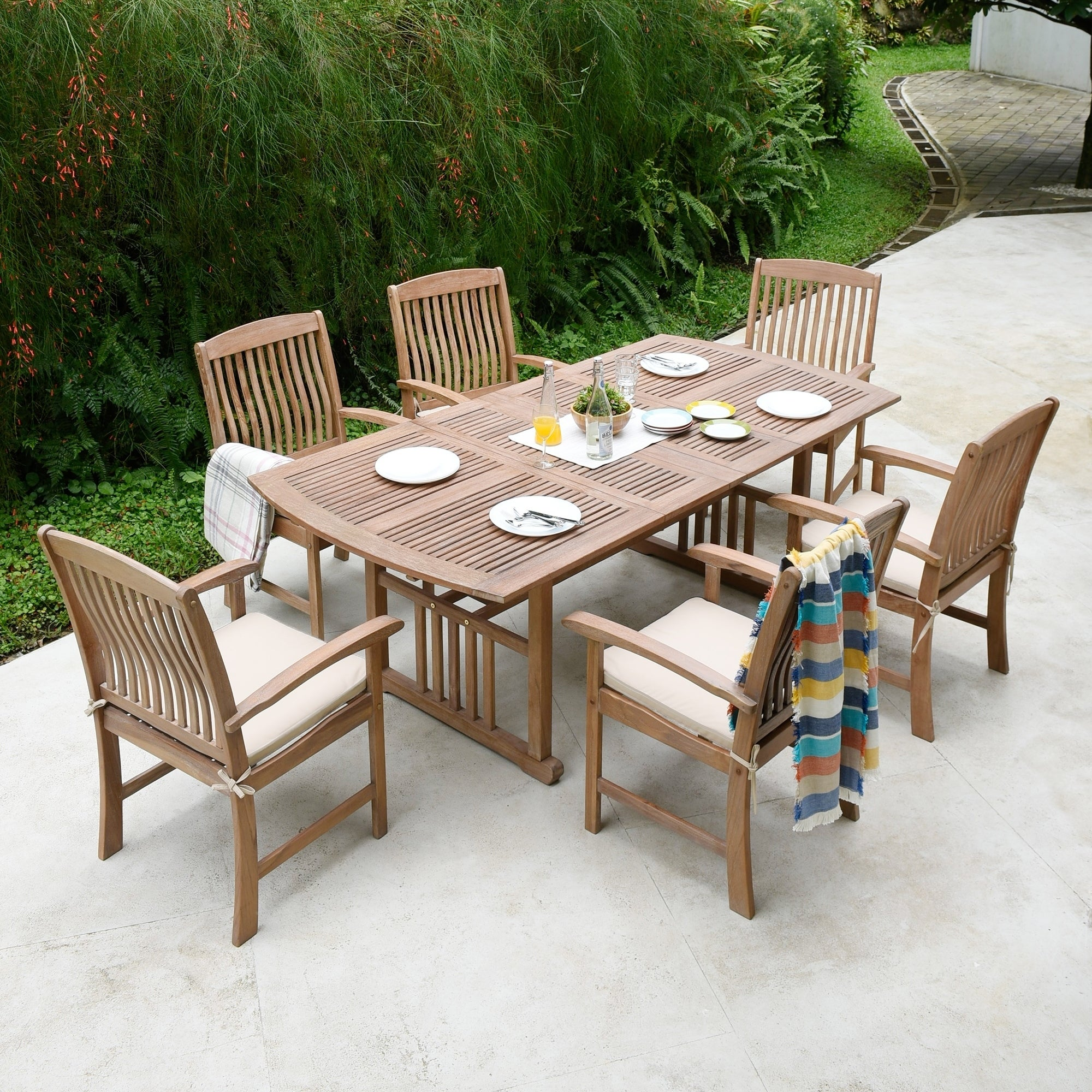 Shop Chignik Casual 7 Piece Teak Patio Extendable Dining Set By Havenside Home Overstock 27639314