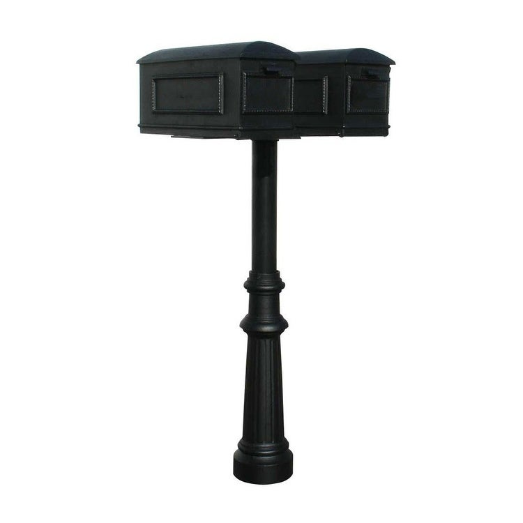 QualArc The Hanford Twin (No Scrolls) Mailbox Post System No Support Braces Decorative Fluted Base 8, Two Lewiston Mailbox