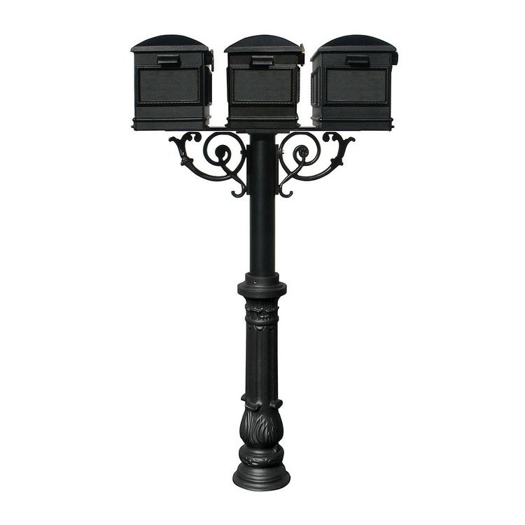 QualArc The Hanford Triple Mailbox Post System with Scroll Supports Decorative Ornate base 7, Three Lewiston Mailbox