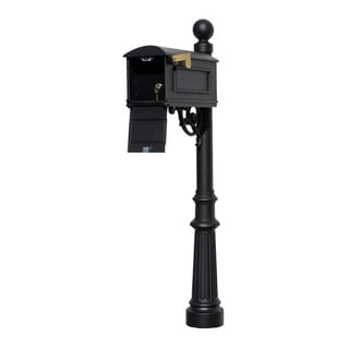 QualArc Lewiston Equine Mailbox Post System with Locking Insert, Fluted Base, Ball Finial (No Address Plates Or Numbers) - Black