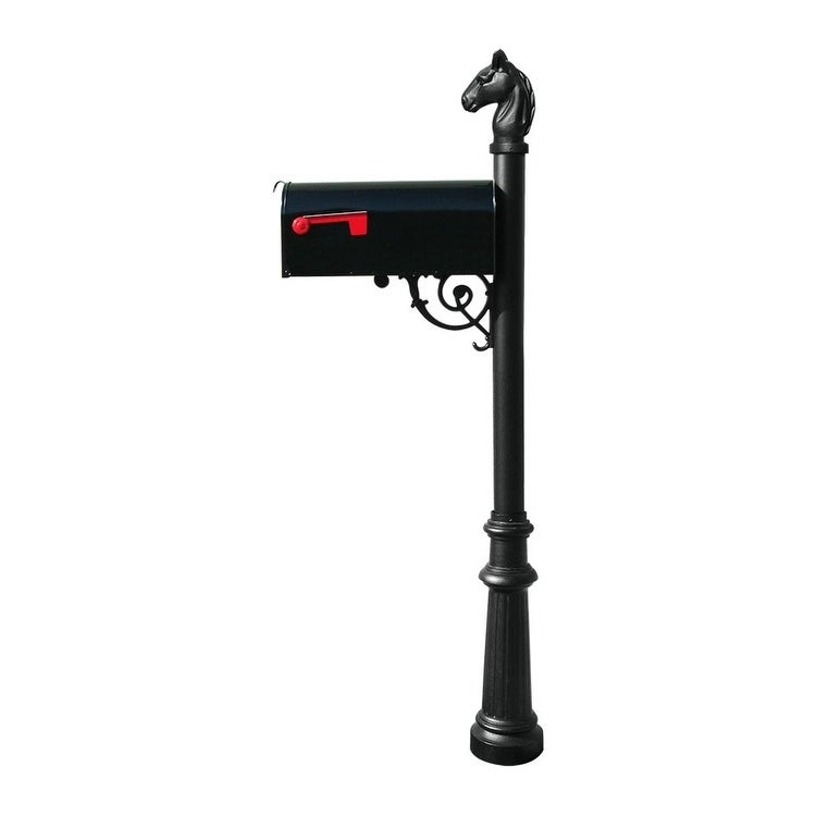 QualArc Lewiston Equine Post System with E1 Economy Mailbox, Mounting Plate, Fluted Base and Horsehead Finial - Black