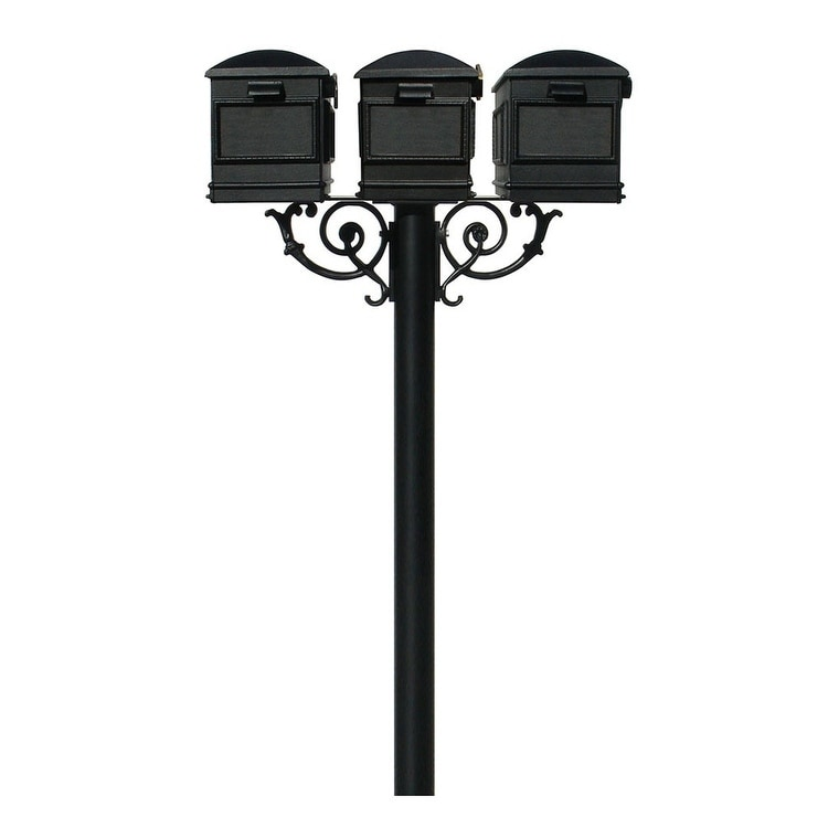 QualArc The Hanford Triple Mailbox Post System with Scroll Supports No Decorative Base Three Lewiston Mailbox