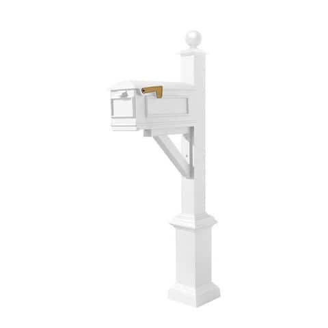 QualArc Westhaven System with Lewiston Mailbox, Square Base and Large Ball Finial in White