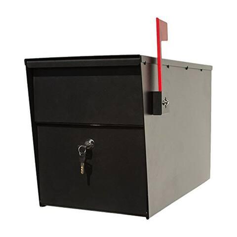 QualArc Lettersentry Powder Coated Steel Locking Mailbox - Black