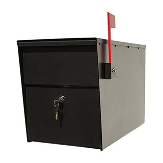 QualArc Lettersentry Powder Coated Steel Locking Mailbox - Black