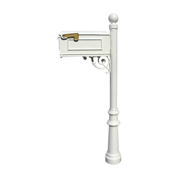 QualArc Lewiston Mailbox Post System with Fluted Base and Ball Finial (No Address Plates Or Numbers) - White