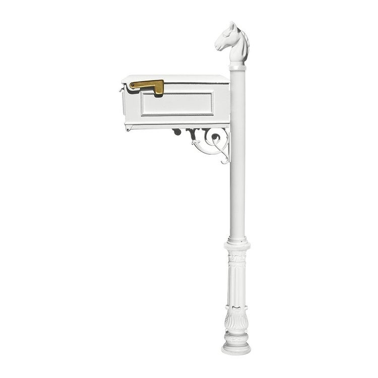 QualArc Lewiston Equine Mailbox Post System with Ornate Base and Horsehead Finial (No Address Plates Or Numbers) - White